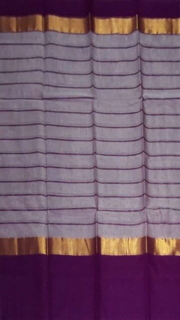 Yespoho Striped Light Lavender Cotton Saree with Bright Purple and Golden Border