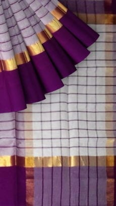 Striped Light Lavender Cotton Saree with Bright Purple and Golden Border-yespoho