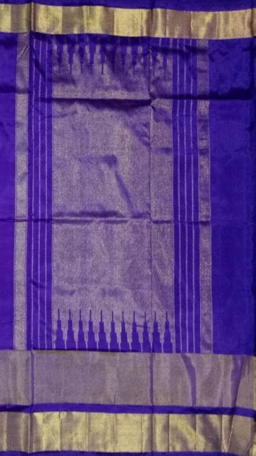brinjal color ikat special kaddi border saree with elephant and sparrow design