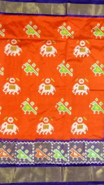 Yespoho ikat special kaddi border saree with elephant and sparrow design