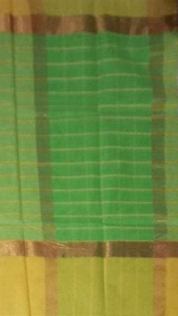 Gold Striped Moss Green Cotton Saree with Royal Yellow and Golden Border