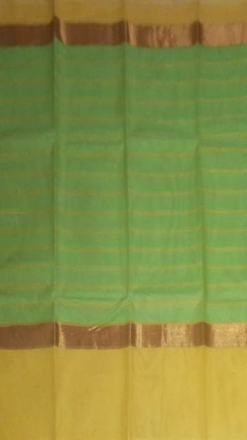 Yespoho Striped Moss Green Cotton Saree with Royal Yellow and Golden Border
