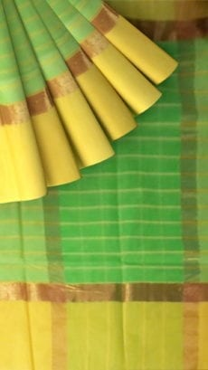 Striped Moss Green Cotton Saree with Royal Yellow and Golden Border-yespoho