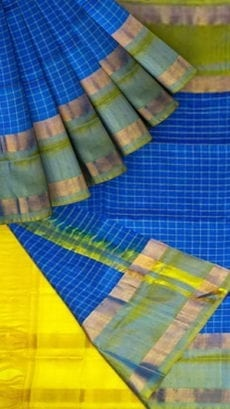 Bright Blue Uppada Mahanati Saree with Golden Border-yespoho