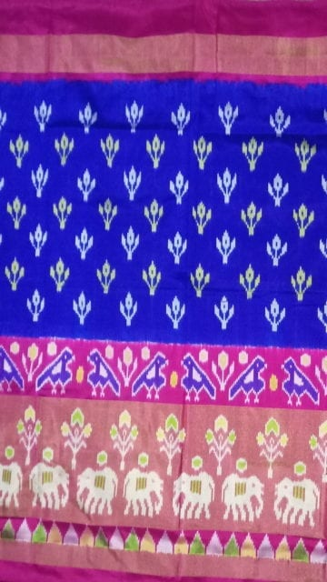 Yespoho ikat special half tissue saree with elephant and sparrow design