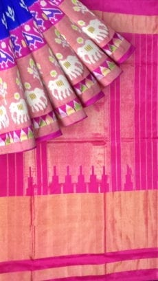 ikat special half tissue saree with elephant and sparrow design-yespoho
