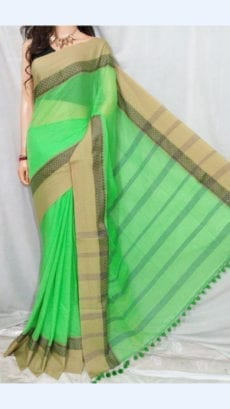 Sea Green Soft Cotton Saree With Peanut Brown Border-yespoho