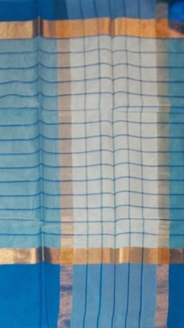 Azure Blue Striped Cornflower Blue Cotton Saree with Azure Blue and Golden Border