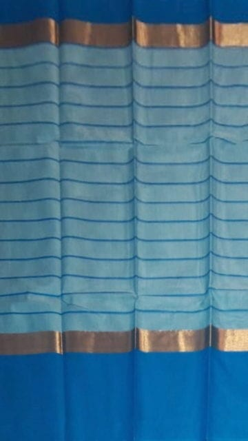Yespoho Striped Cornflower Blue Cotton Saree with Azure Blue and Golden Border