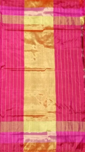 Bright Pink ikat slate color body flower design with tissue borde