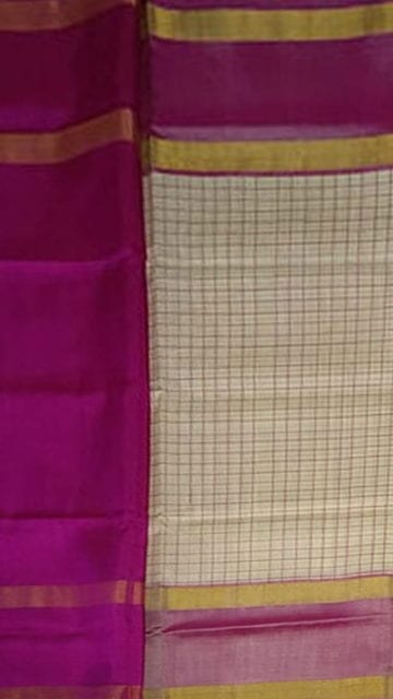 Gold Magenta and Off white Uppada Mahanti saree with zari