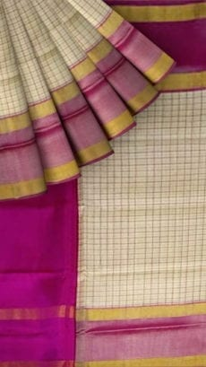 Magenta and Off white Uppada Mahanti saree with zari-yespoho