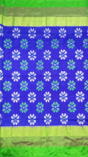 Yespoho ikat blue color body allover flower design with tissue border