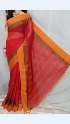 Red Soft Cotton Saree Plain Patterned with Orange border-yespoho