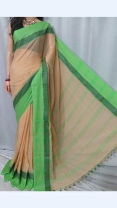 Melon Orange Soft Cotton Saree with striped Pallu Perfect for any occasions-yespoho