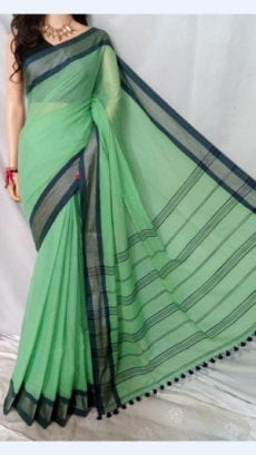 Sea Green Soft Cotton Saree With Dark Blue Border For Every Occasions-yespoho