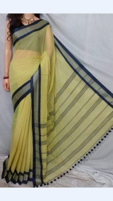 Lemon yellow plain Patterned Sarees With Dark Blue Border-yespoho
