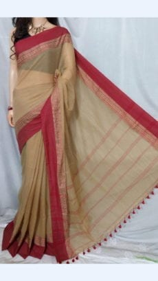 Peanut Brown Soft Cotton Saree With Maroon Border For Every Occasions-yespoho
