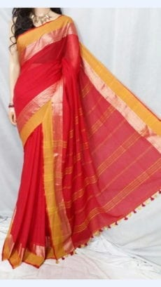 Crimson Red Soft Cotton Saree With Mustard Yellow And Golden Border-yespoho