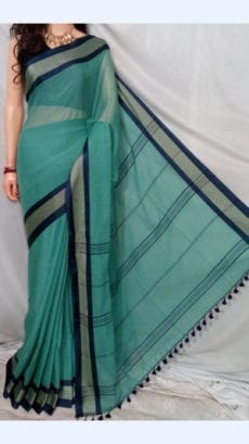 Teal Soft Cotton Saree with striped Pallu Perfect for any Occasions-yespoho