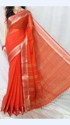 Coral Red Soft Cotton Saree With Golden Border-yespoho