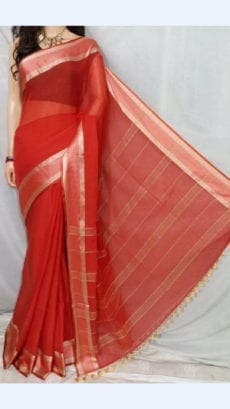 Crimson Red Soft Cotton Saree With Golden Border-yespoho