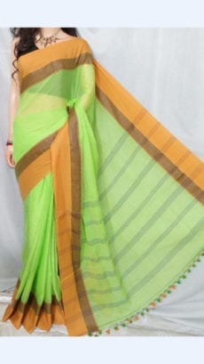 Plain Pattern Mint Green Soft Cotton Saree With Mustard Yellow Border-yespoho