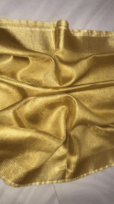 Golden Tissue Linen Saree-yespoho