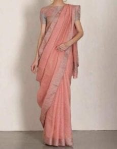 Plain patterned Saree coupled with Plain Pallu and Matching Blouse-yespoho