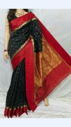 Black Garad Silk Saree With Maroon Pallu And Golden Zari Work-yespoho