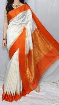 White Garad Silk Saree with Designer Pallu-yespoho