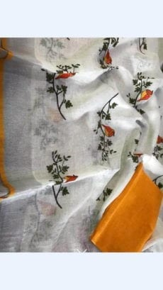 White Embroidery Linen Saree with thin orange border