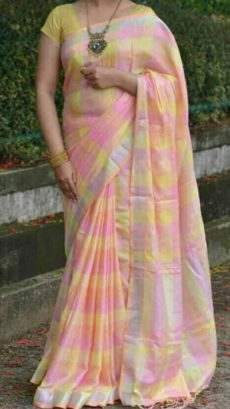 Baby Pink And Lemon Yellow Linen Saree With Silver Border-yespoho