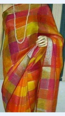 Orange And Yellow Linen Saree With Golden Border-yespoho