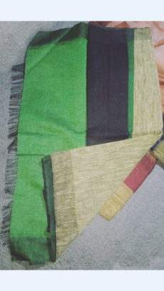 Green And Black Linen Saree With Golden Border-yespoho