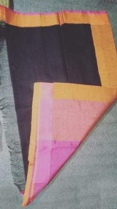 Black Linen Saree With Golden And Magenta Border-yespoho