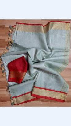 Grey Linen Saree with Red and Gold Border-yespoho
