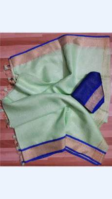 Light green Linen Saree with Dark Violet and Gold Border-yespoho