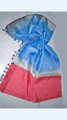 Light Blue Linen Saree With Golden And Red Border