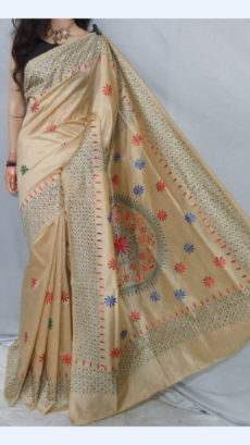 Cream Malai Silk Saree with Floral Design-yespoho