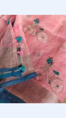 Cycle Design patterned Pink Linen Saree