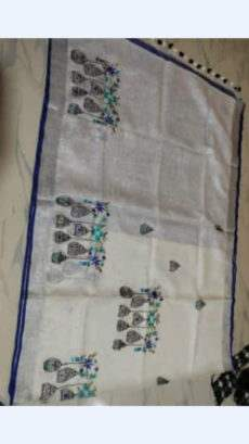 White Linen Saree With Silver And Dark Blue Border-yespoho