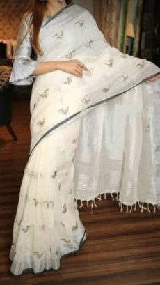 White Linen Saree With Silver And Dark Grey Border