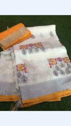 White Linen Saree With Silver And Mango Yellow Border