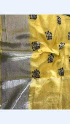 Yellow Linen Saree With Elephant Design Pattern