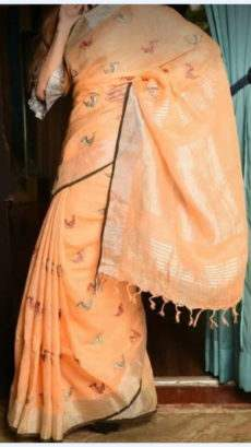 Light Orange Linen Saree With Birds Design Pattern