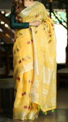 Bright Yellow Linen Saree With Birds Design Pattern
