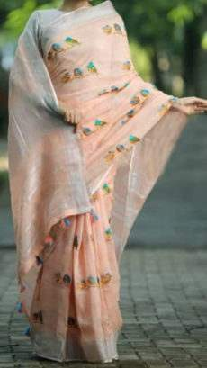 Peach Linen Saree With Silver Border-yespoho