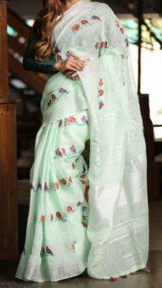 Mint Green Linen Saree With Silver Border And Birds Design Pattern-yespoho