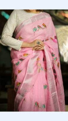 Baby Pink Linen Saree With Birds Design Pattern | Yespoho-yespoho